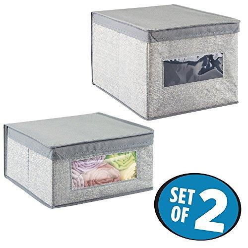 mDesign Closet Storage Organizer Bins voor Dekens, Linnen, Kleding, Schoenen, Handtassen - Set van 2, Grijs