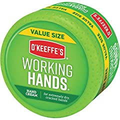 O'Keeffe's Working Hands Hand Cream is a concentrated hand cream that heals, relieves and repairs extremely dry, cracked hands Creates a protective layer on the skin's surface that instantly boosts moisture levels and helps prevent further moisture l...