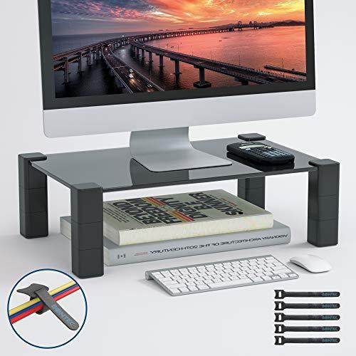 BONTEC Monitorständer Black Glass, Bildschirmständer Höhenverstellbarer Ergonomischem Laptop-Druckerständer für Laptop, Computer, iMac, Drucker Bis zu 40 kg (B380 x T240mm)