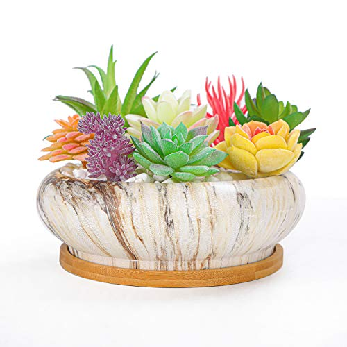 Artketty 6.1 Inch Large Ceramic Succulent Planter Pot, Modern Round Cactus Flower Planter Container Bowl with Drainage Bamboo Tray Decorative Garden Shallow Marble Bonsai Pot for Indoor/outdoor Plants