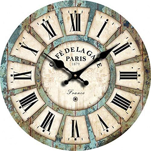 Reloj De Pared Vintage Estilo RúStico Reloj De Madera De Colores Grandes NúMeros AráBigos Mudos para Sala De Estar Dormitorio DiseñO (2 Paquetes) 30 Cm