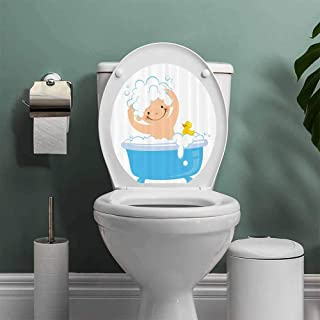 nursery decor Collection Vinyl Carving Decal Sticker Baby Boy with Smiley Face Having Bubble Bath in Bathtub with Rubber Duck Kids Decor Art Toilet Seat Sticker Bathroom Decor White Blue W13XL16 INCH