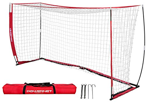 PowerNet Soccer Goal 12 x 6 | Portable Net Collapsible Metal Base | Durable Vertical Bow Poles | Quick Setup Easy Folding Storage | Ultra Portable | 1 Goal + 1 Carrying Bag | Full Size Soccer Goal
