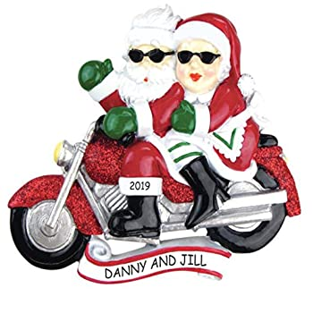 Personalized Motorcycle Mr & Mrs Claus Couples Christmas Ornament  Motorcycle Mr & Mrs Claus
