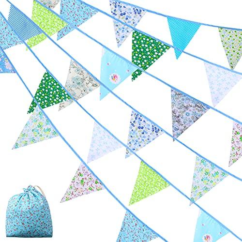 Stoff Bunting Banner Flagge Girlande 40 Feet Vintage Bunting 42 Stücke Blumen Wimpel Dreieck Flaggen Stoff Girlande für Hochzeit Geburtstag Baby Shower Dekoration (Schönes Muster)