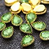 PENVEAT 10x14mm cose en Diamantes de imitación con Garra de Base Dorada Flatback Mix Color Crystal Strass para DIY Vestido de Fiesta de Boda Sombreros Zapatos Ropa, Verde Claro, 15 Piezas
