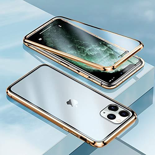 MESTRIEViPhoneXRケース覗き見防止磁気吸着両面ガラス対応360°全面保護iPhoneXRのぞき見防止アルミバンパーケースマグネット式磁石磁気接続ワイヤレス充電対応スマホケース軽量薄型擦り傷防止耐衝撃アイフォンXRケース(ゴールド)