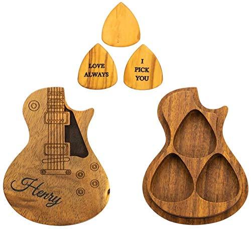 Personalisierte kundenspezifische hölzerne Gitarren-Picks mit Gitarren-Pick-Box-Fall-Halter Sammler-kundenspezifischer Gitarren-Pick