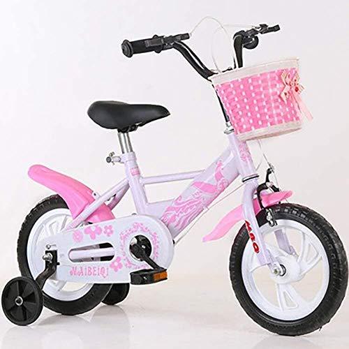 LSZ 12 14 16 18 Pulgadas Pedal de niños Bicicleta con Ruedas de Entrenamiento Rueda Inflable Ajustable Ajustable de Acero de Alto Carbono Chica Bicicleta para niños (Color : Pink, Size : 18)