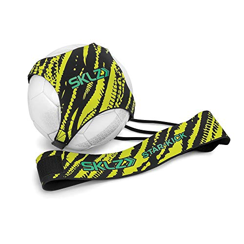 SKLZ Star-Kick Hands-Free Adjustable Solo Soccer Trainer - Fits Ball Sizes 3, 4, and 5 (Neon)