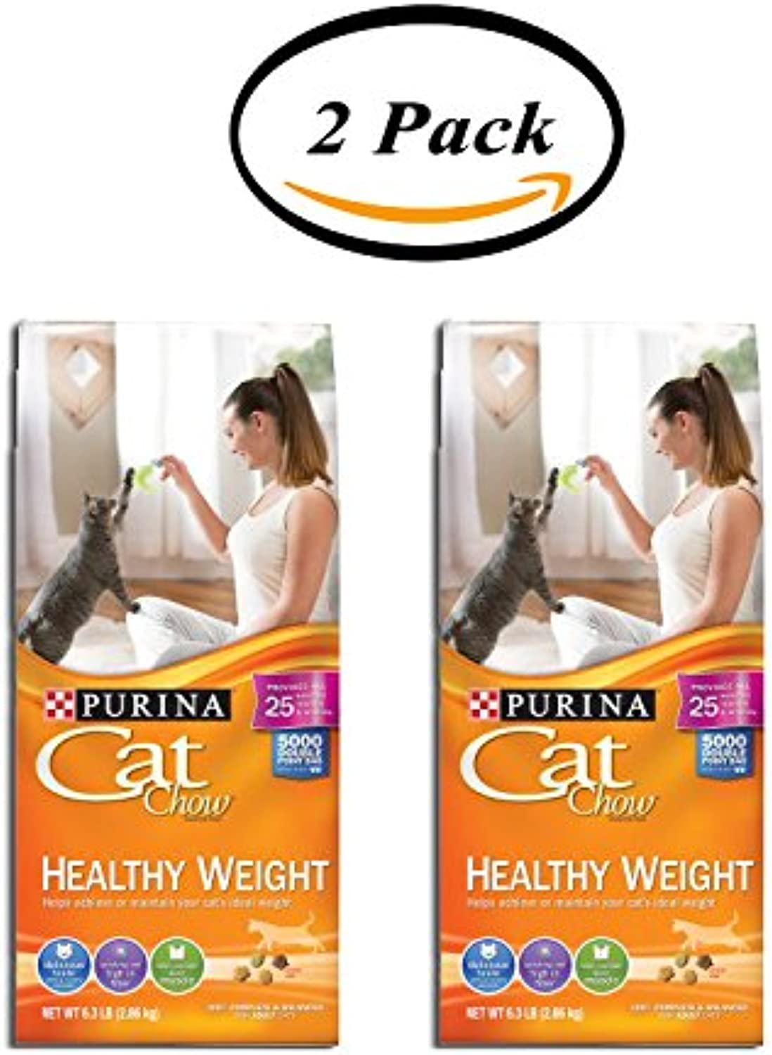 Pack of 2  Purina Cat Chow Healthy Weight Cat Food, 6.3 lb