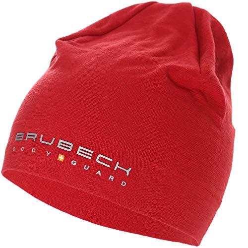 BRUBECK Funktionsmütze Damen & Herren | rote Sportmütze atmungsaktiv | Womens Mens Bike Cap red | Radfahren | Mütze Merino | Outdoor | 48% Merinowolle | rot | Gr. S - M | HM10180