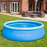 AquaTec Piscinas Hinchables – 4 Tamaños | Piscina de Jardín o Terraza Ideal para Familias y Niños – Opciones de Mejora (Piscina + Inflador+ Lona + Cubierta, 3m)