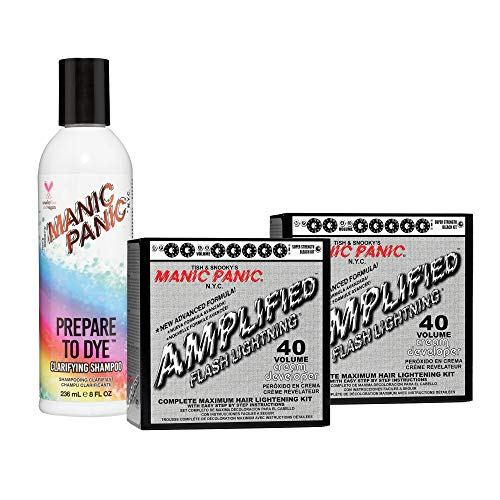 Manic Panic Flash Lightning Hair Bleach Kit (2-Pack) 40 Volume Cream Developer Hair Lightener Kit with Prepare to Dye Clarifying Shampoo