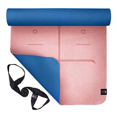 SUPERLETIC Yoga-Matte Professional aus TPE, rutschfest, Anti-allergisch, schadstofffrei, 100% biologisch abbaubar, 183 x 61 cm, 5 mm stark, mit Trage-Gurt, Rosa