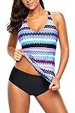Uniarmoire Two Piece Swimsuits Tankini Bathing Suit for Women Purple S