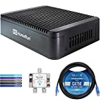 SiliconDust HDTC-2US-M HDHomeRun Extend Dual TV Tuner with H.264 Transcoder Bundle with Blucoil 2-Way TV Coaxial Cable Splitter, 10-FT 1 Gbps Cat5e Cable, and 5-Pack of Reusable Cable Ties