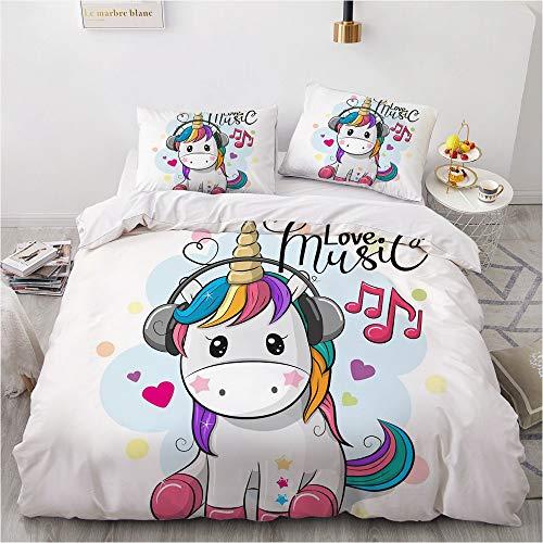 Bate - Juego de funda de edredón para niña, diseño de unicornio animal, funda de edredón de microfibra y fundas de almohada (135 x 200 cm)