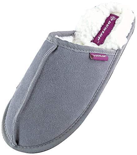 Dunlop - Damen Winter Warm Pantoffeln Hausschuhe mit Plüsch Innenfell Gefüttert (41 EU, 8034 Grey)