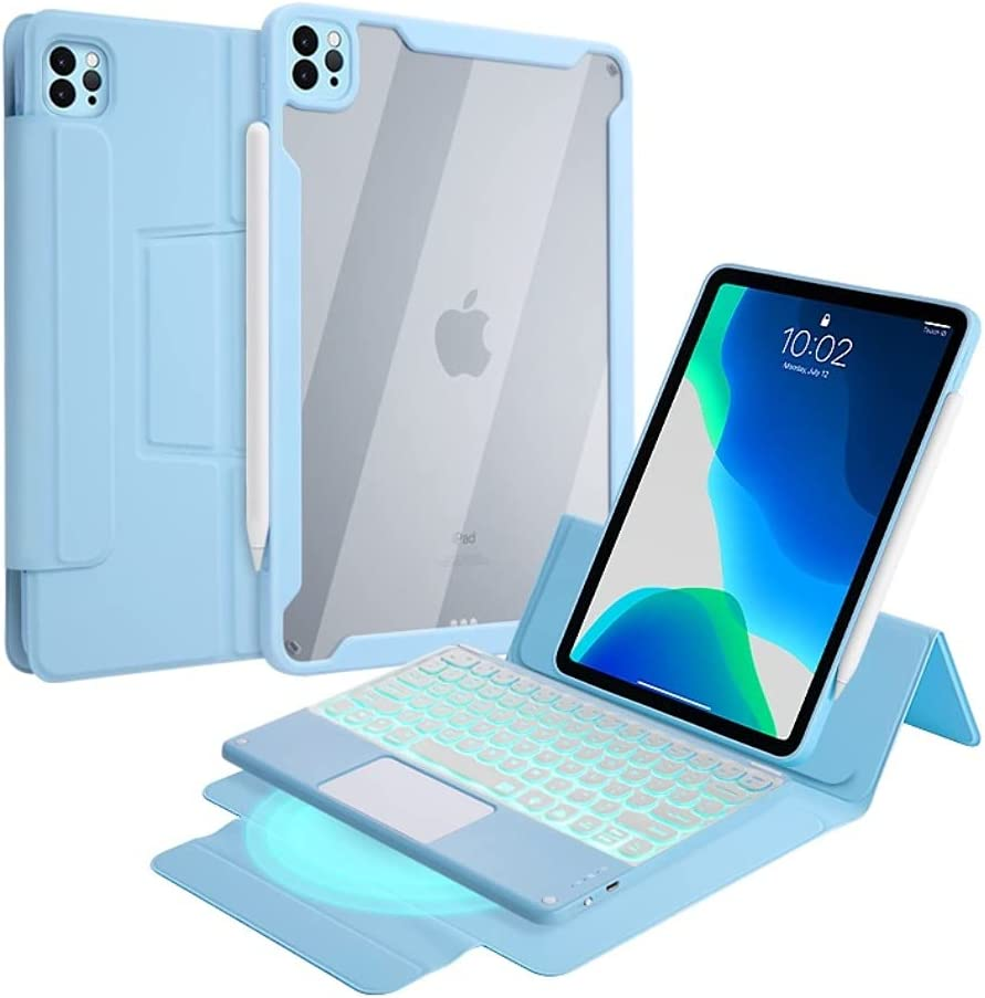 iPad Pro 12.9 2021 Magnetic Case with Touchpad Keyboard 7 Colors Backlit Detachable Keyboard Round Key Built‑in trackpad Clear Back Cover for Pro 12.9 5th Gen 4th Gen 3rd Generation (Blue)