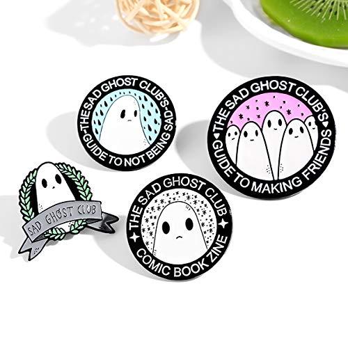 FIZZENN Sad Ghosts Serie Emaille Pin Retro-Revers-Brosche Astronaut Pin für Kleidung Beutel-Rucksack-Dekoration und Halloween Near-Jahr-Geschenk