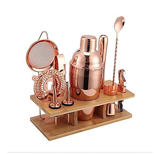 ZRXRY Barkeeper Kit: 11-teiliges Copper Bar Set Cocktail Shaker Set mit stilvollem Stand |