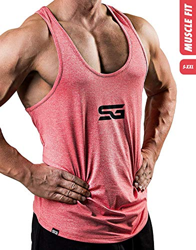 Satire Gym Fitness Stringer Herren - Funktionelle Sport Bekleidung - Geeignet Für Workout, Training - Tank Top (rot meliert, M)