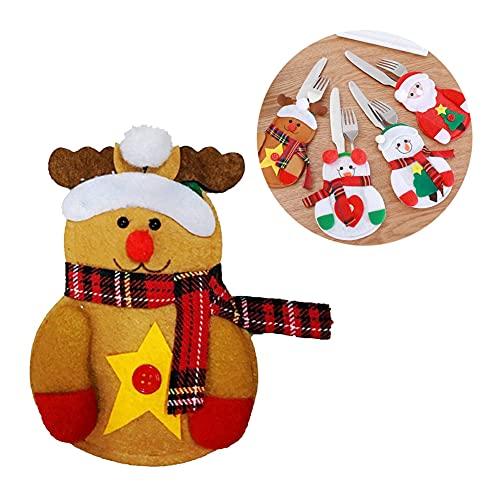 WHITULIP PCS Navidad Muñeco de Nieve Cubiertos Titulares Bolsillos Tenedores Bolsa Santa Traje De navidad Ciervos Hotel Fiesta Cena Decoración