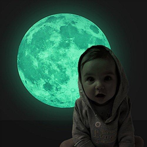 EXTSUD 30x30CM Wandsticker Leuchtaufkleber Leuchtsticker Mond fluoreszierend Wandaufkleber Hausdekoration für Schlafzimmer Wohnzimmer Kinderzimmer (Mond)