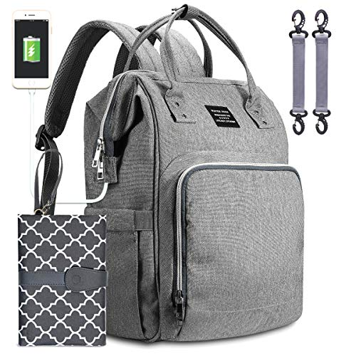 Baby Changing Bag Backpack, Water High Diaper Bag Nappy Rucksack with Travel Changing Mat and USB Charging Port, Grey
