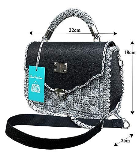 Ungewöhnliche exklusive Handtasche.Schwarz-silberne Umhängetasche mit Pailletten und einer massiven Kette.Öko-Leder.Exklusive bestickte Tasche. Handarbeit
