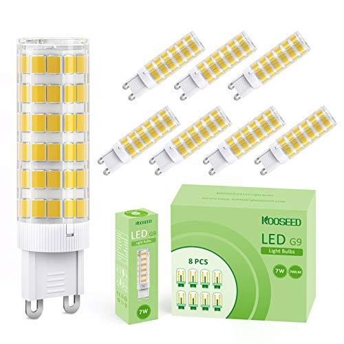Lampadine LED G9 7W, KOOSEED G9 LED Lampadina Luce Equivalenti a 70W, 8 Pezzi, 700lm, 3000K Bianco Caldo, Angolo a fascio 360 °, Nessun Lampeggio Non Dimmerabile Risparmio Energetico Lampadine
