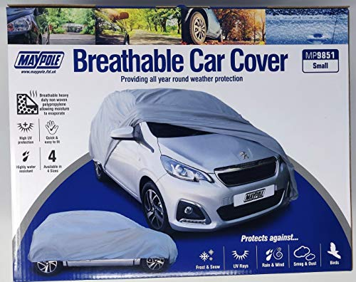 BITS4REASONS MAYPOLE NEW MODEL MP9851 PREMIUM BREATHABLE OUTDOOR CAR COVER - ALLOWS MOISTURE TO EVAPORATE (SMALL) MAX SIZE L430 x W160 x H115CM