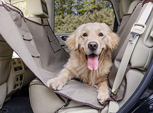 PetSafe Happy Ride Waterproof Hammock Seat Cover for Dogs and Pets - Fits Cars, Trucks and SUVs - Waterproof Area Protection - Tan