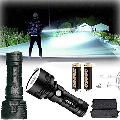 30000-100000 Lumen Linterna Led Alta Potencia, Linternas Con Zoom De 3 Modos SúPer Brillantes Con BateríA De Alta Potencia Y Carga Usb Antorcha (50 W XLM-P70, Batería de litio doble)