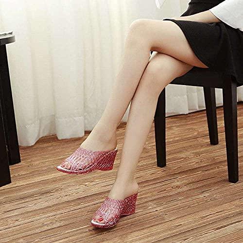 ypyrhh Sandalias Mujer Verano Planas Bohemia,Zapatillas de Cristal de plástico de cuña, Zapatos de Jalea Transparentes-Rosado_39,Hombres Mujeres Sandalias