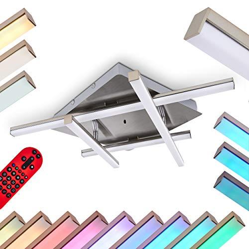 LED Deckenleuchte Eriz, dimmbare Deckenlampe aus Metall in Nickel-matt, 18,5 Watt (insgesamt), 800 Lumen (insgesamt), Lichtfarbe 2700-5000 Kelvin, RGB Farbwechsler u. Fernbedienung