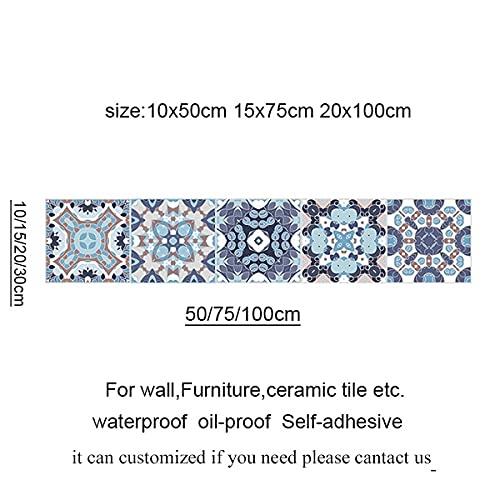 Leileixiao Pegatinas de Azulejos Retro árabe para la Cocina Baño PVC Autoadhesivo Etiqueta de la Pared Sala de Estar DIY Decoración Wallpaper Impermeable (Color : 2034 9, Size : 20x100cm)