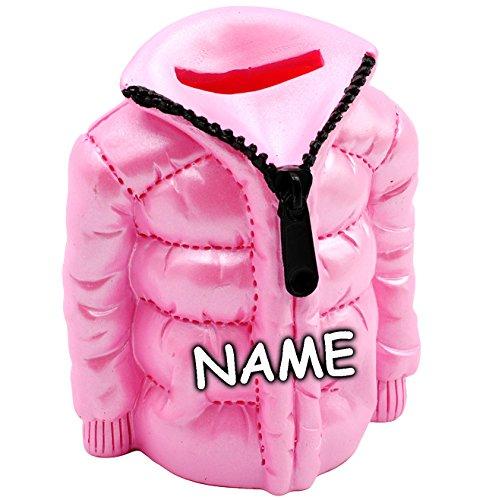 alles-meine.de GmbH Spardose -  Jacke / in PINK - ROSA  - incl. Name - stabile Sparbüchse aus Kunstharz / Polyresin - Shopping & Einkaufen - Einkaufsgutschein / Winterurlaub & ..