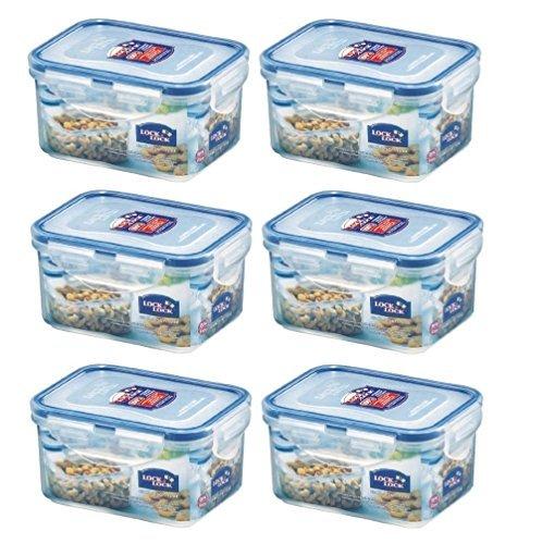 Lock & Lock Frischhaltedosen für Lebensmittel, luftdicht, rechteckig, 400 ml, 6 Stück
