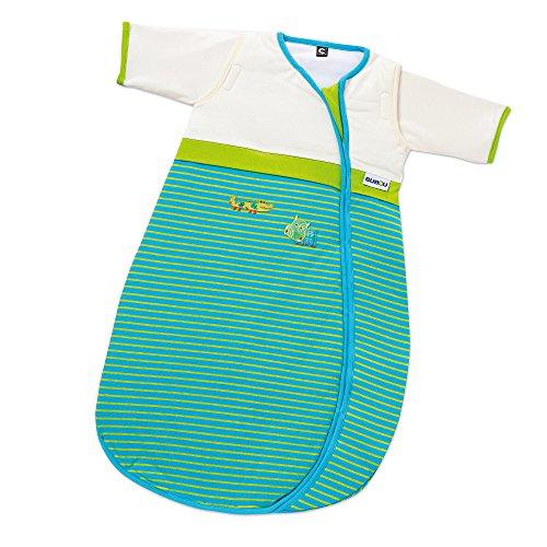 Gesslein Bubou Design 125: Temperaturregulierender Ganzjahresschlafsack/Schlafsack für Babys/Kinder, Größe 110, grün Streifen mit Krokodil und Fisch