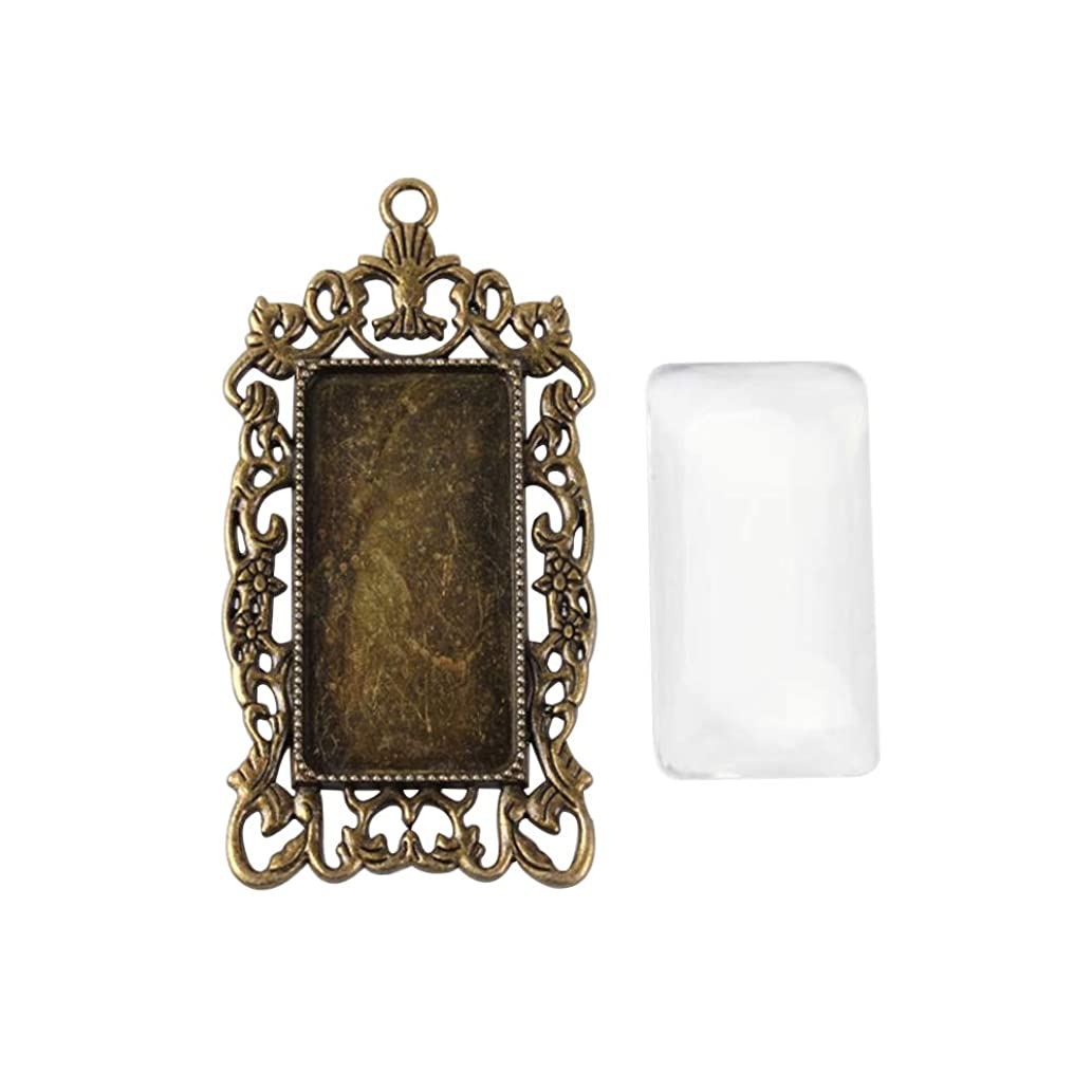 ARRICRAFT 6 Sets Alloy Antique Bronze Rectangle Pendant Cabochon Settings with Glass Cabochon Cover for DIY Pendant Making, Tray 19x38mm hbopmubx4234514