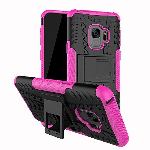 S9Fall, Galaxy S9Fall, Moment dextrad [mit Integriertem Ständer] [Rutschfeste Design] Dual Layer Hybrid Ganzkörper-Rugged [stoßfest] Schutz Cover für Samsung Galaxy S9+ Stylus, Rose