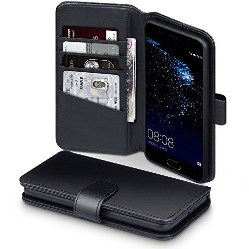 P10 Plus Cover, Terrapin di Vera Pelle Della Cassa del Raccoglitore con Funzione di Appoggio Posteriore per Huawei P10 Plus Custodia Pelle, Colore: Nero
