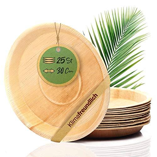 palmenwald© 25 Stück kompostierbare Einwegteller aus plastikfreien Palmblatt ca. 30cm Ø & 3cm Tiefe | nachhaltiges & umweltfreundliches Einweggeschirr Palmblattteller Palmblattgeschirr