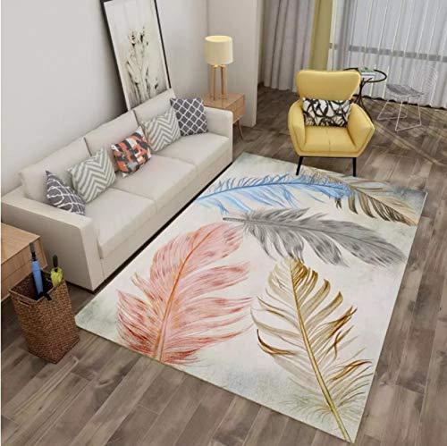 Golden Pink Leaf Printed Carpet Living Room Balcony Non-Slip Carpet Coffee Table Sofa Exquisite Polyester Carpet140*200Cm
