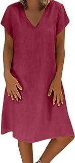 35803d988d Holywin Casual Grande Taille Robe d'été pour Femme T-Shirt Coton
