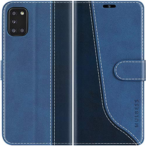 Mulbess Handyhülle für Samsung Galaxy A31 Hülle, Handy Samsung A31 Hülle, Leder Flip Etui Handytasche Schutzhülle für Samsung Galaxy A31 Hülle, Diamant Blau