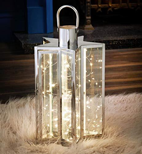 Licht Stijlen Grote 60 LED Stervormige Lantaarn, Zilver, Glas, Decoratieve Moderne Huis