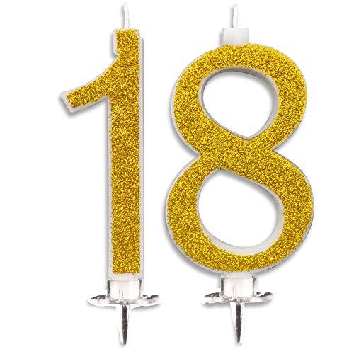 Candeline Maxi 18 Anni per Torta Festa Compleanno 18 Anni | Decorazioni Candele Auguri Anniversario Torta 18 | Altezza 13 CM (Oro)